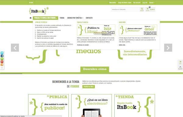Editorial ItsBook mostrando el megamenú