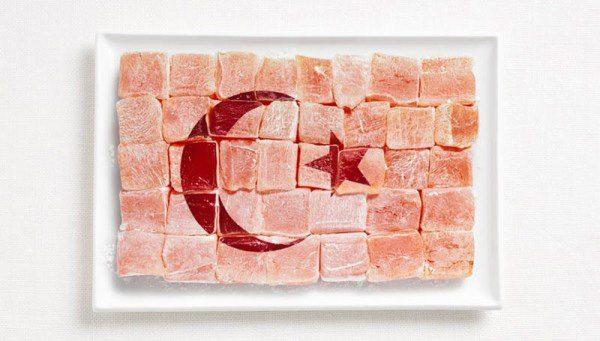 Bandera de Turquía hecha con Delicias turcas (lokum).