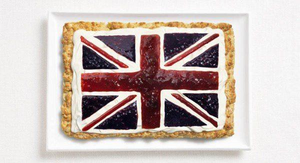 Bandera del Reino Unido hecha cremas y mermeladas.